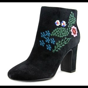 Nanette Lepore Embroidered Black Suede Booties